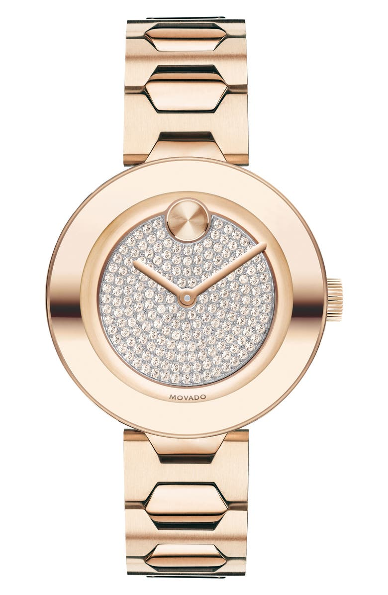 MOVADO Bold Pavé T-Bar Bracelet Watch, 32mm, Main, color, ROSE GOLD