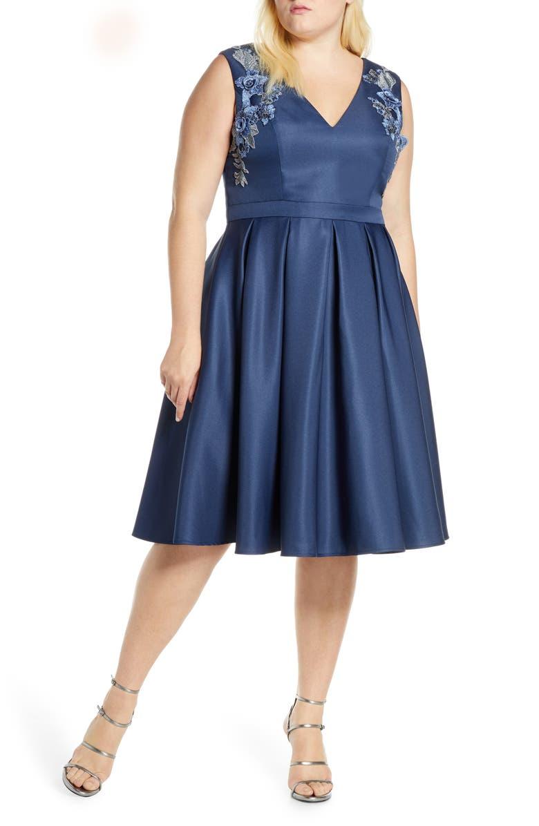 CHI CHI LONDON Curve Kyla Appliqué Detail Fit & Flare Party Dress, Main, color, 413