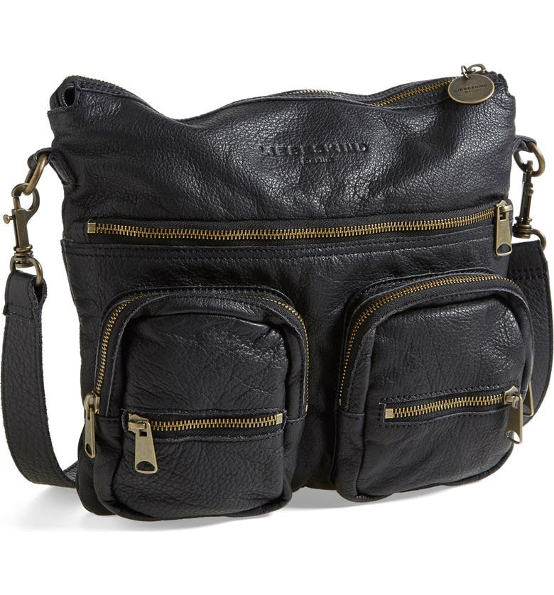 LIEBESKIND 'Anny' Leather Crossbody Bag, Main, color, 001