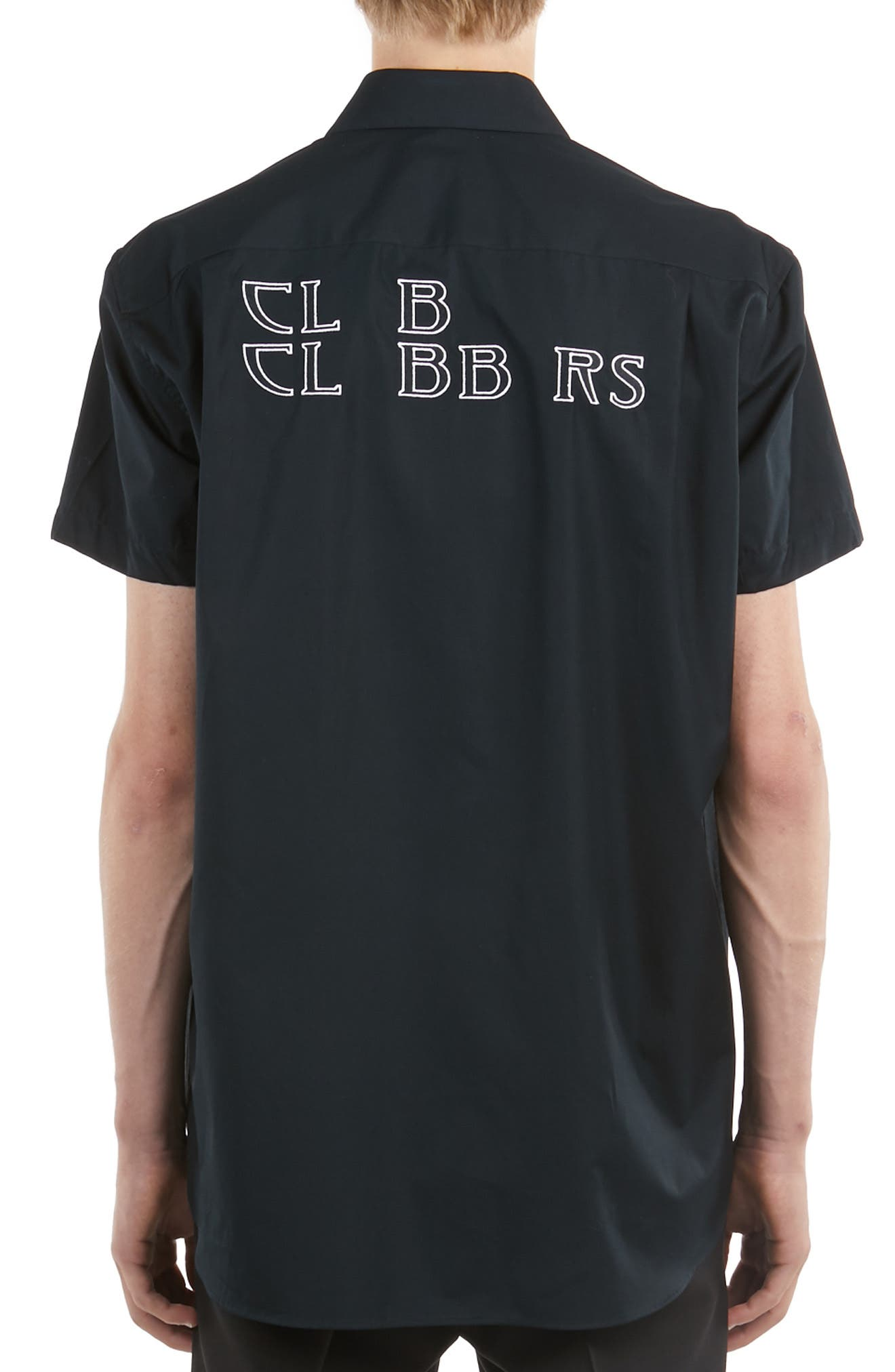 ,                             Logo Embroidered Woven Shirt,                             Alternate thumbnail 2, color,                             BLACK