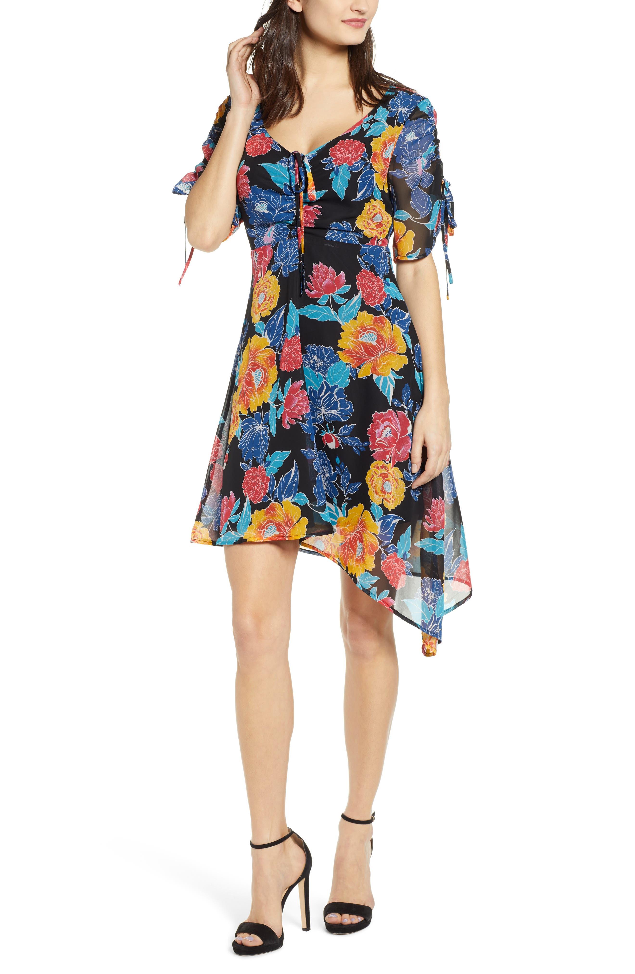 Leith Floral Print Asymmetrical Dress, Black