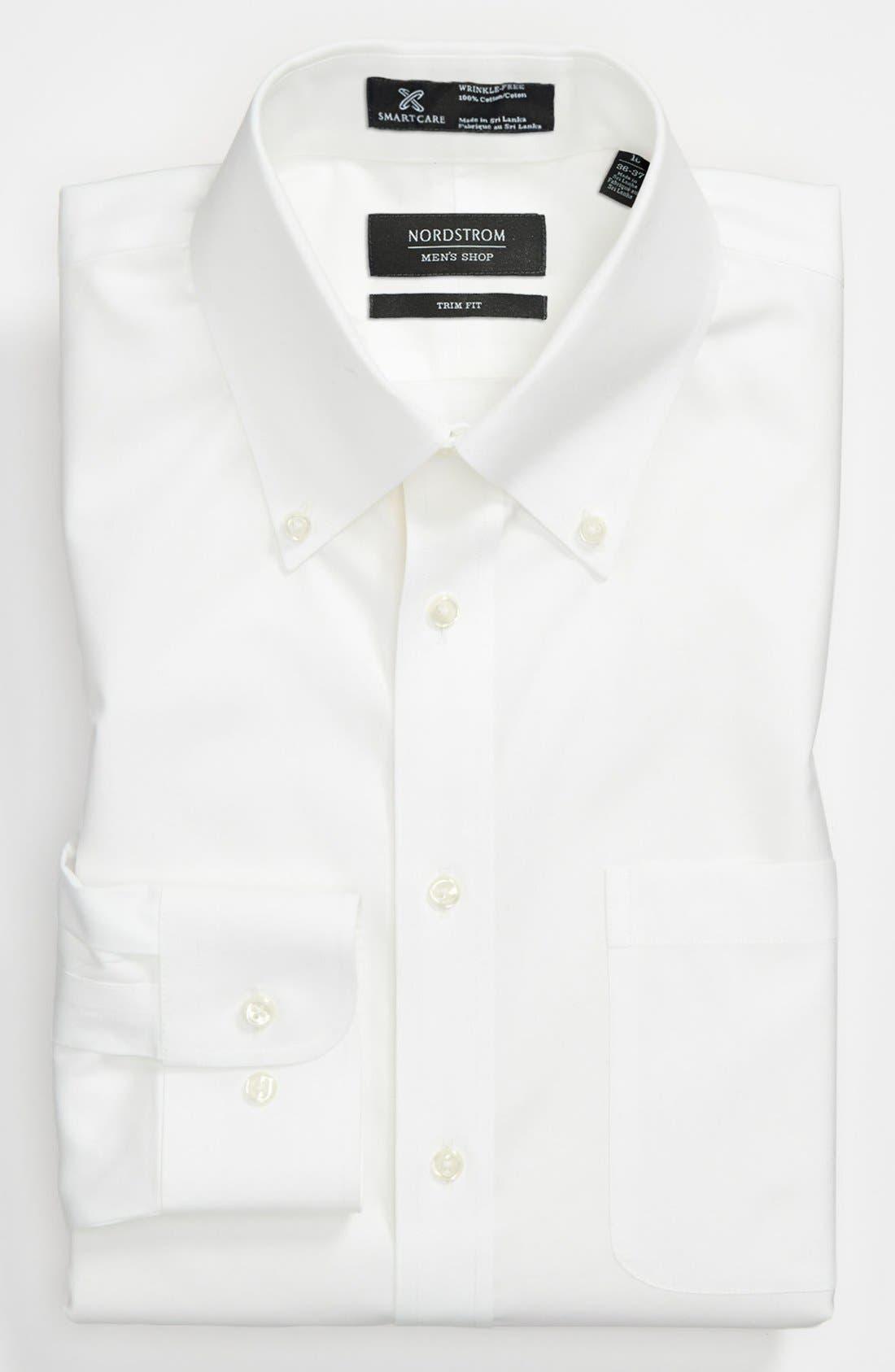 ,                             Smartcare<sup>™</sup> Trim Fit Solid Dress Shirt,                             Main thumbnail 1, color,                             100