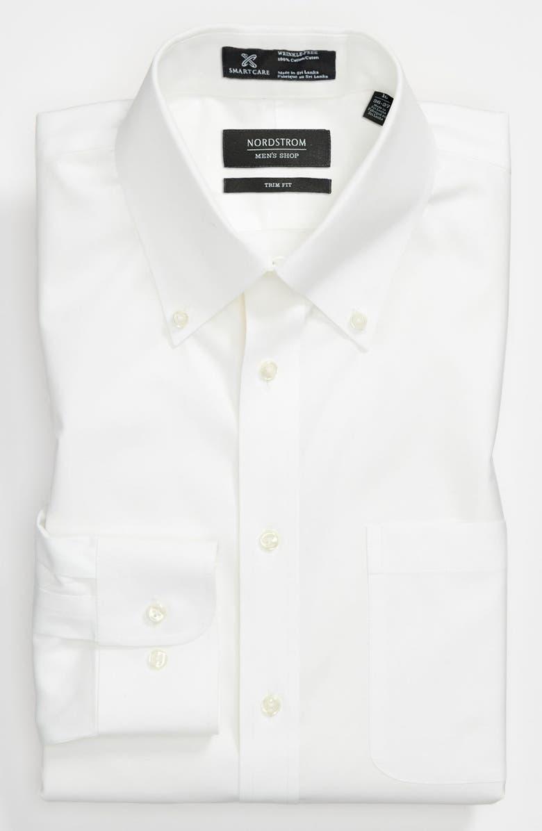 NORDSTROM MEN'S SHOP Smartcare<sup>™</sup> Trim Fit Solid Dress Shirt, Main, color, 100