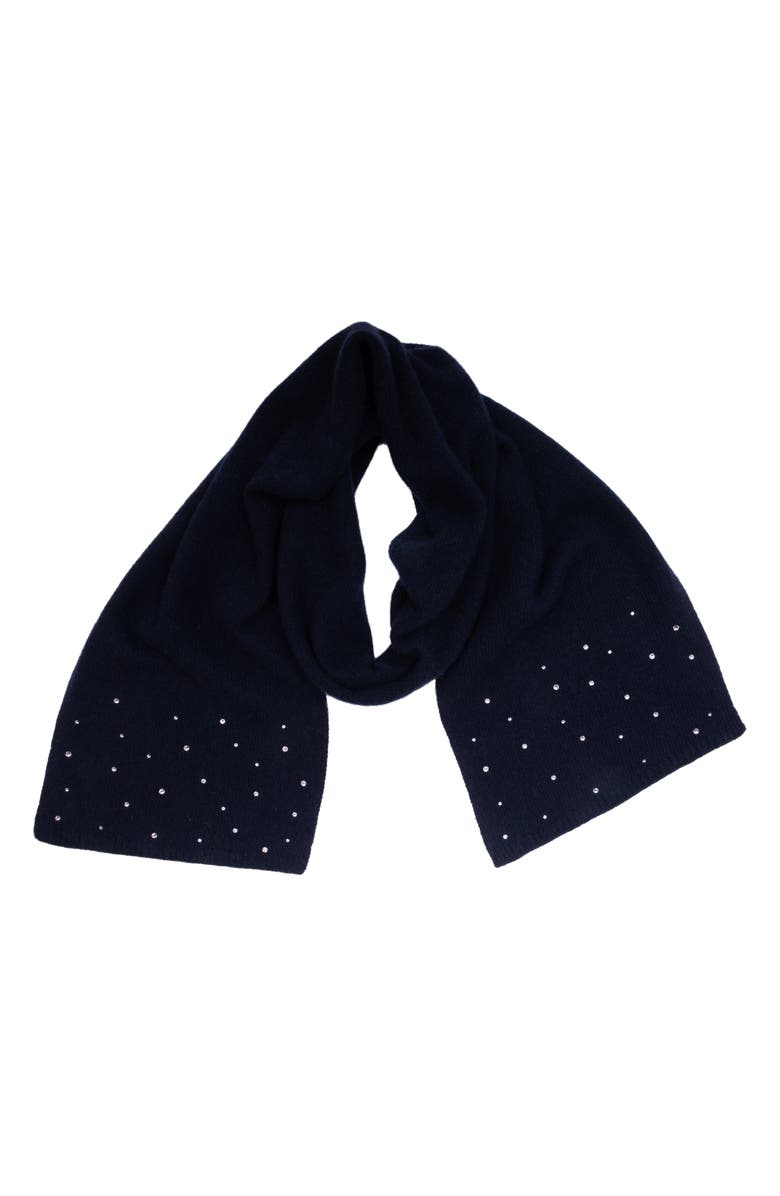 CAROLYN ROWAN ACCESSORIES Crystal Embellished Cashmere Scarf, Main, color, NAVY