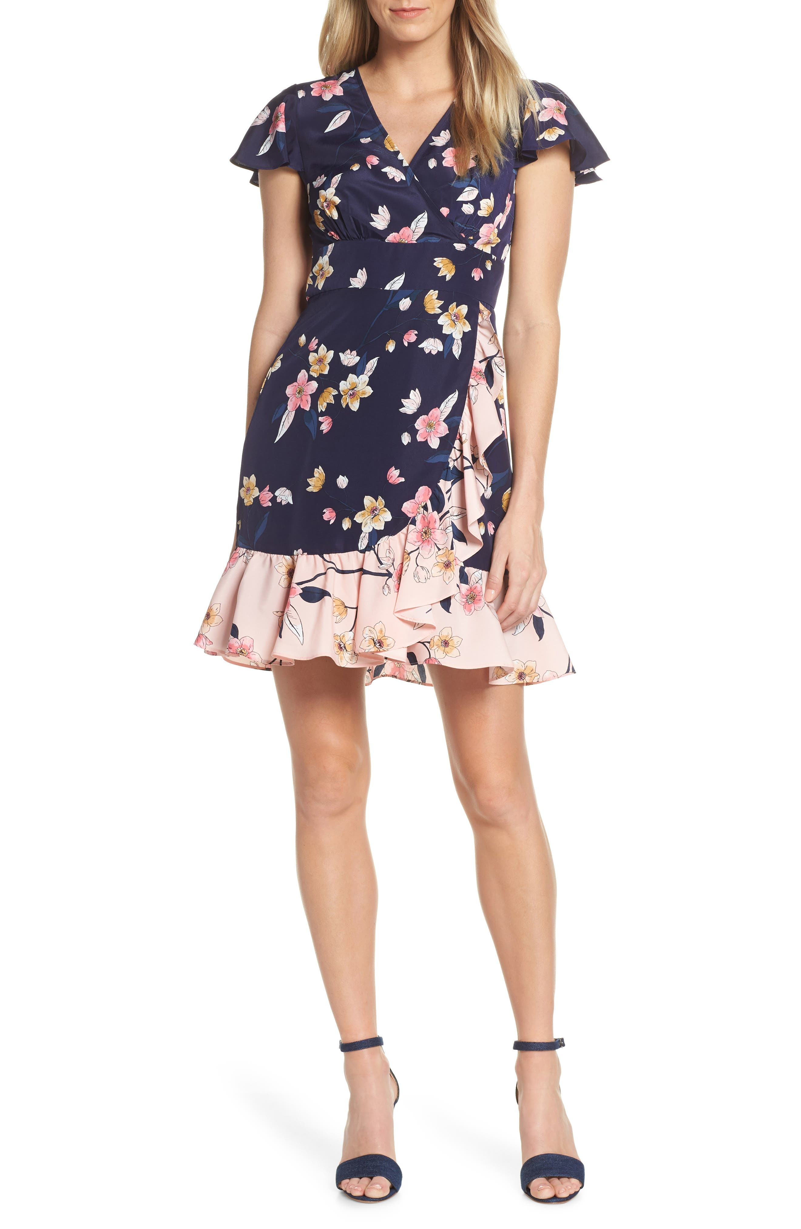 ,                             Ruffle Faux Wrap Dress,                             Main thumbnail 1, color,                             NAVY/ MULTI