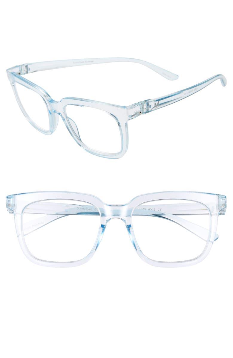 BUNNY EYEZ The Jenny 52mm Reading Glasses, Main, color, BARELY BLUE CRYSTAL