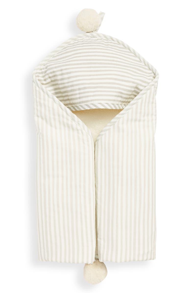 PEHR Stripes Away Hooded Towel, Main, color, PEBBLE/ DARK GREY