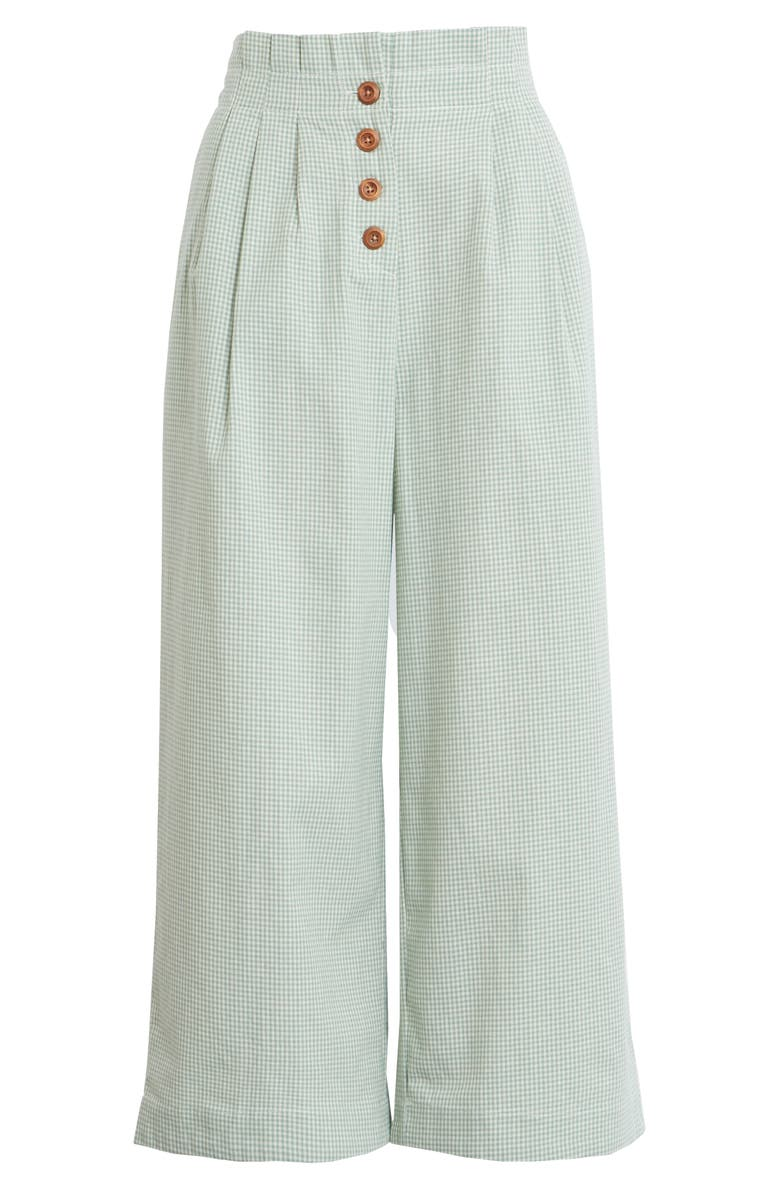 ENGLISH FACTORY Pleated Crop Trousers, Main, color, GREEN