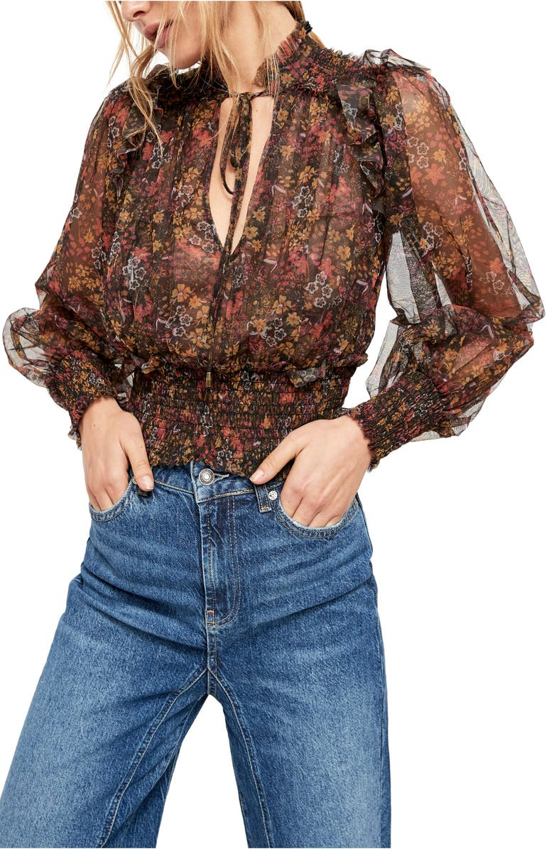 FREE PEOPLE Twyla Printed Top, Main, color, BLACK COMBO
