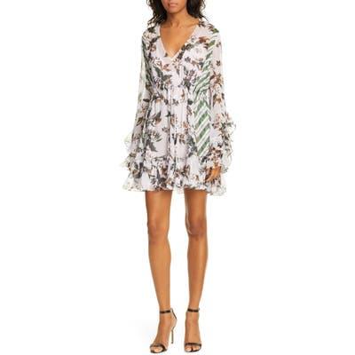 Dvf Harlow Floral Ruffle Detail Silk Chiffon Long Sleeve Minidress, Purple
