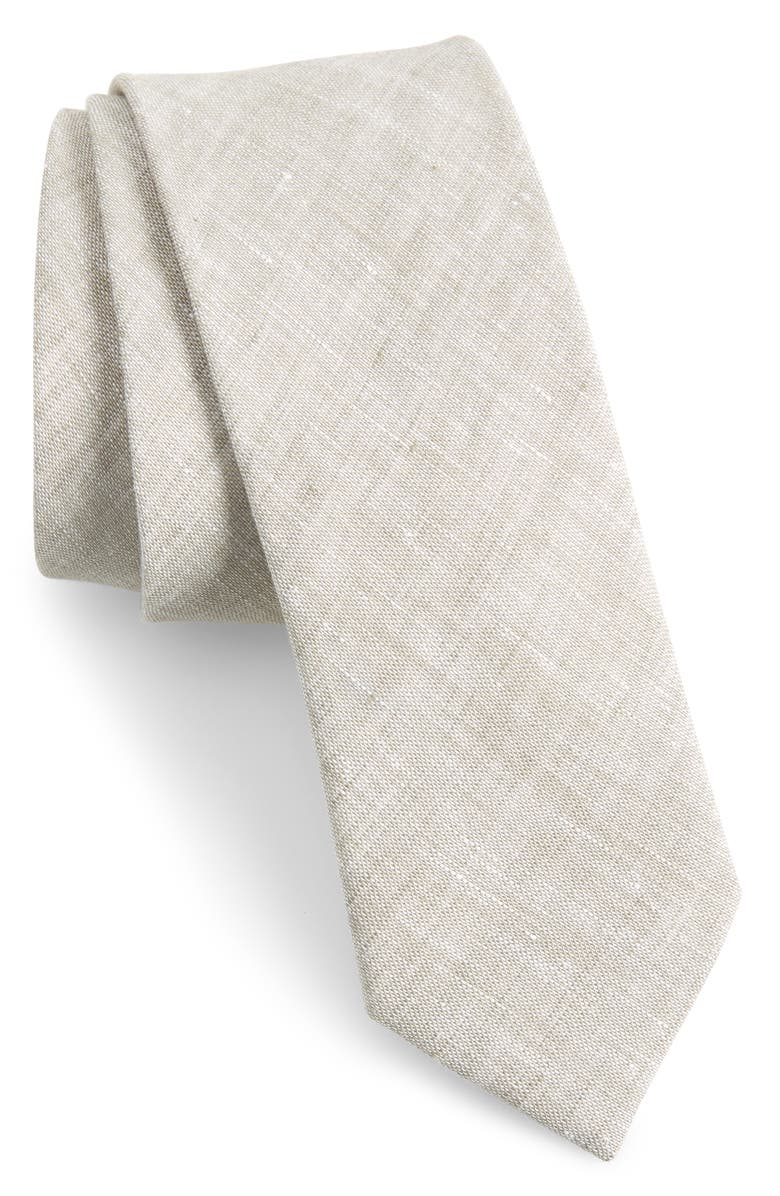 THE TIE BAR Solid Linen Tie, Main, color, 020