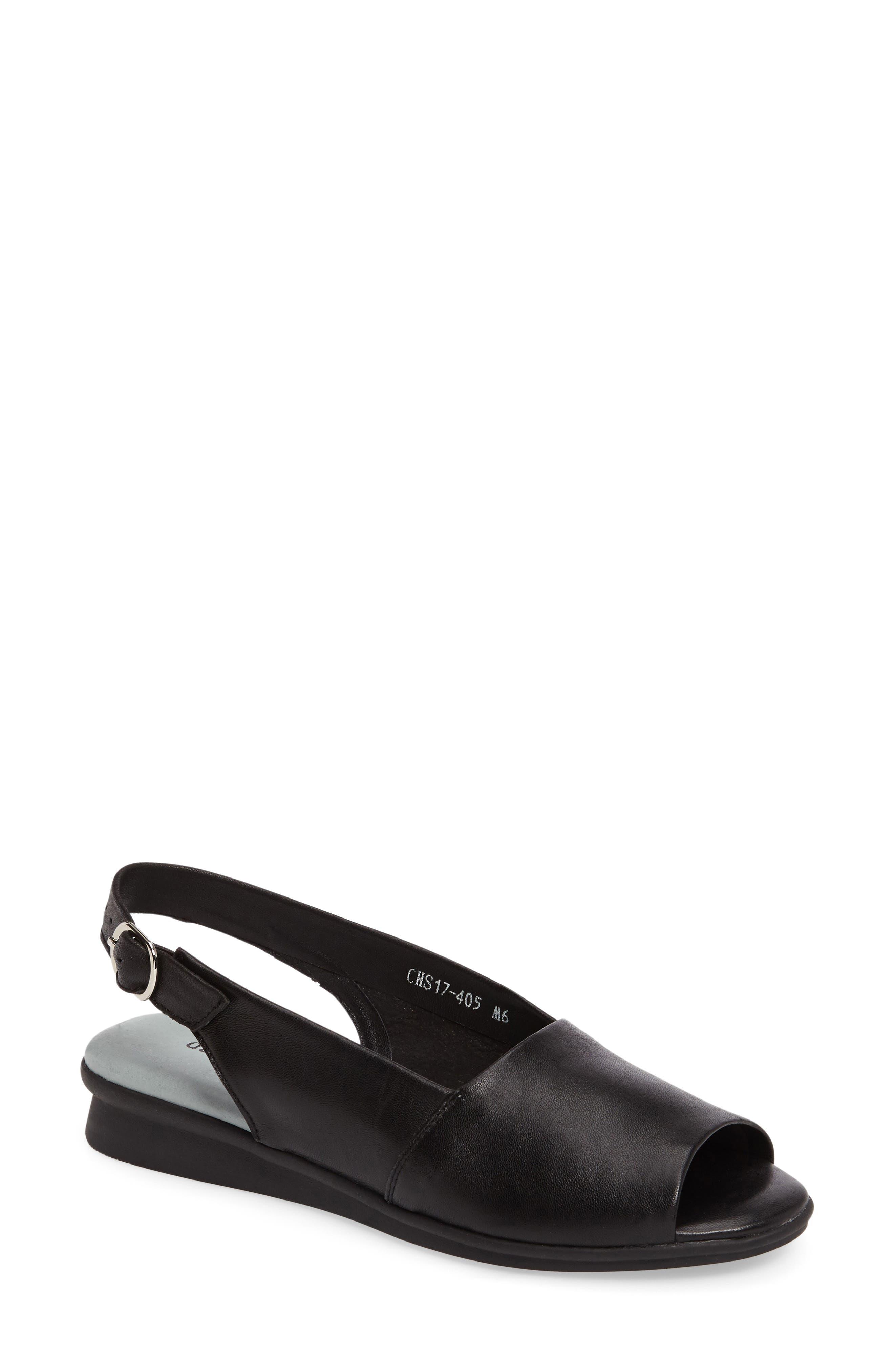 Norma Slingback Sandal, Main, color, BLACK LEATHER