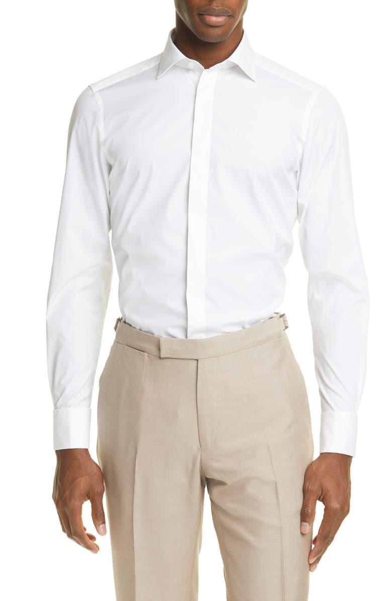 ERMENEGILDO ZEGNA Classic Fit Button-Up Shirt, Main, color, WHITE