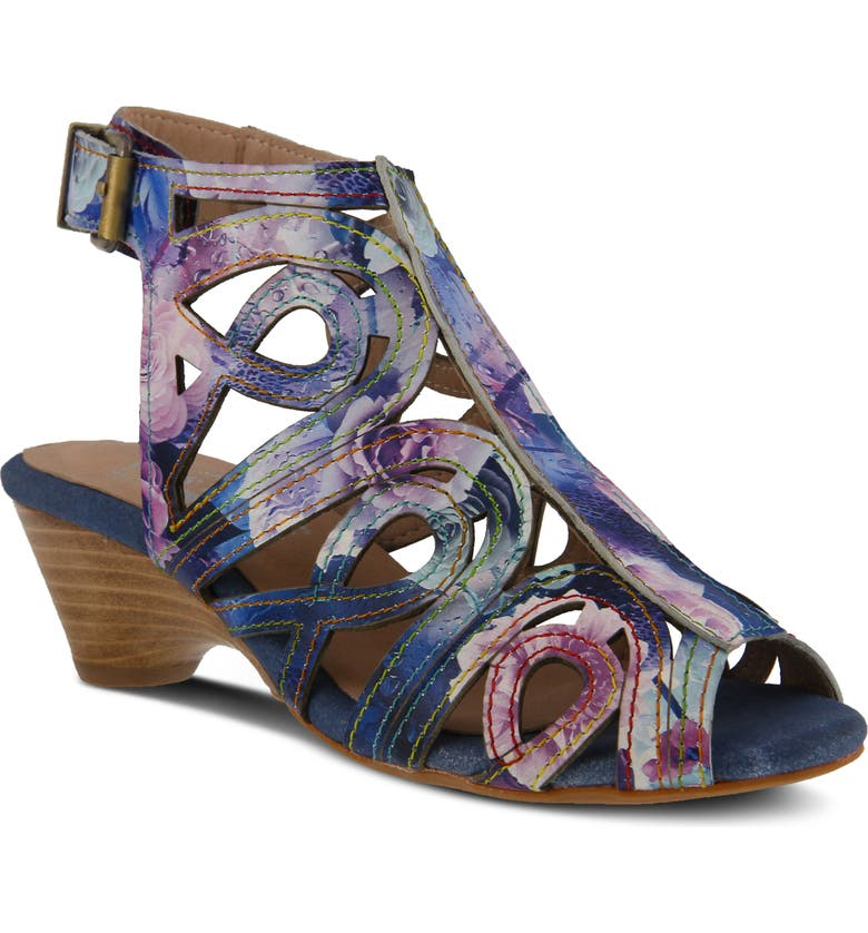 L'ARTISTE Flourisha Floral Cage Sandal, Main, color, BLUE MULTI LEATHER