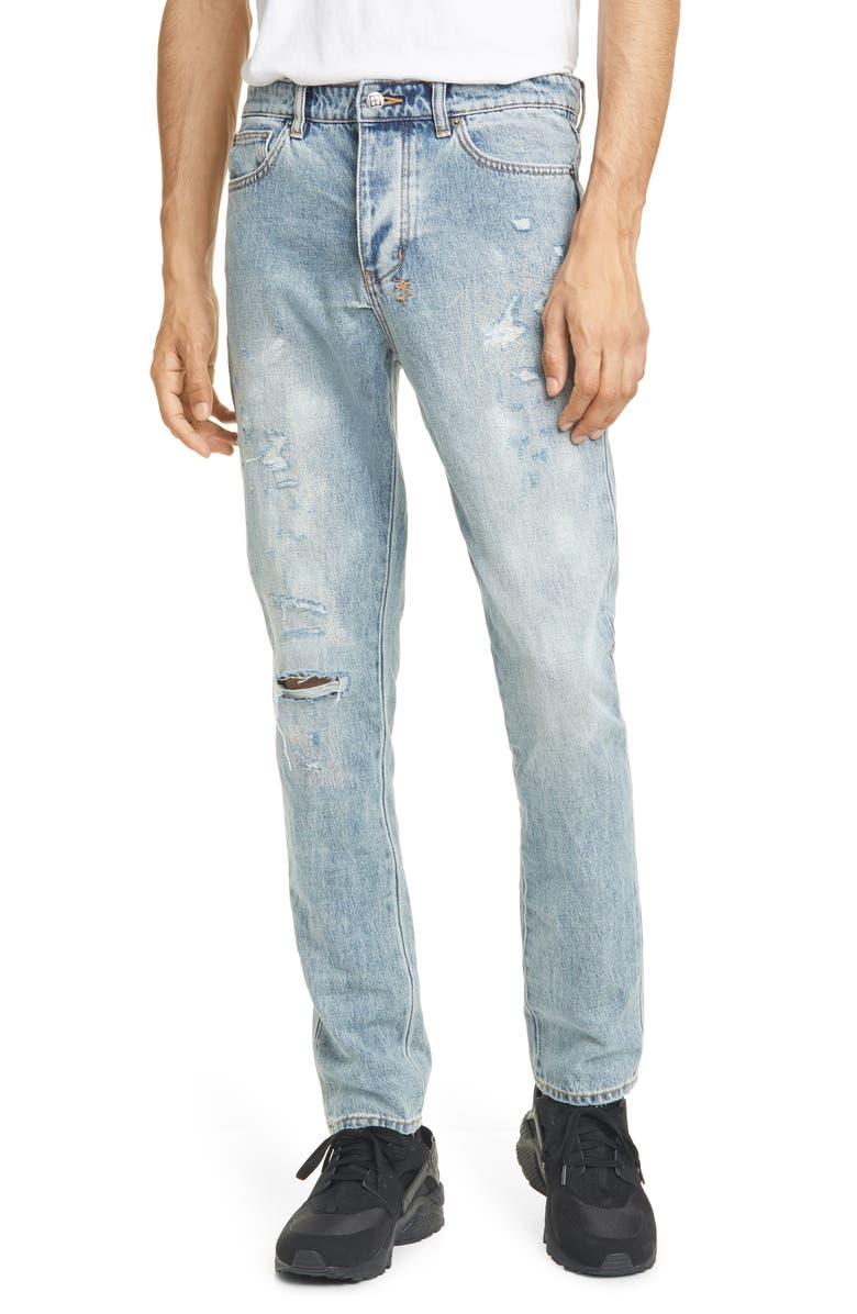 KSUBI Chitch Rekonize Ruins Ripped Skinny Fit Jeans, Main, color, DENIM