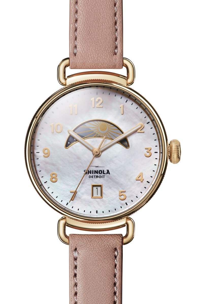 SHINOLA The Canfield Leather Strap Watch, 38mm, Main, color, BLUSH/ MOP/ GOLD