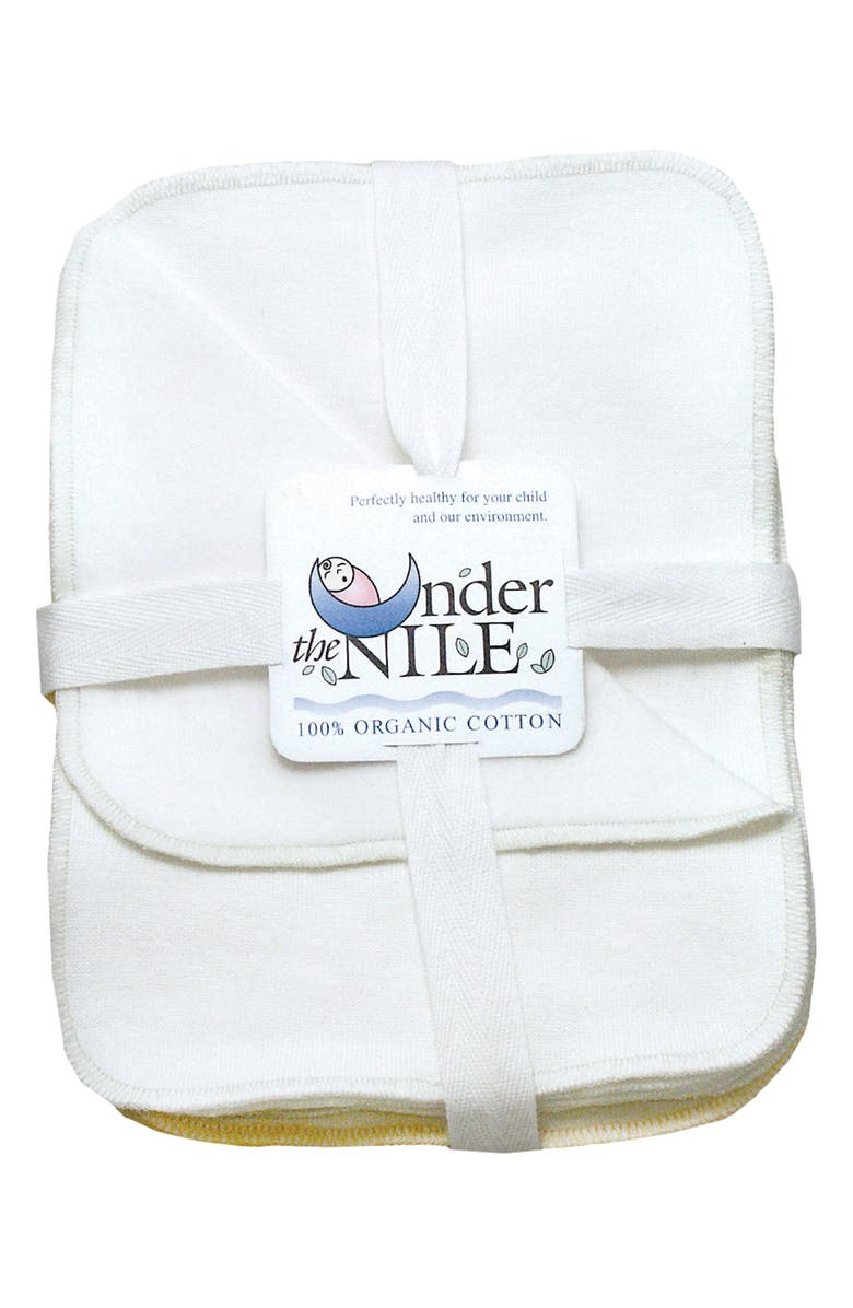 UNDER THE NILE Set of 12 Organic Egyptian Cotton Washcloths, Main, color, OFF-WHITE