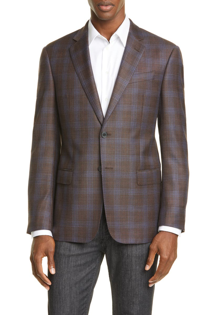 EMPORIO ARMANI Trim Fit Wool Sport Coat, Main, color, BROWN