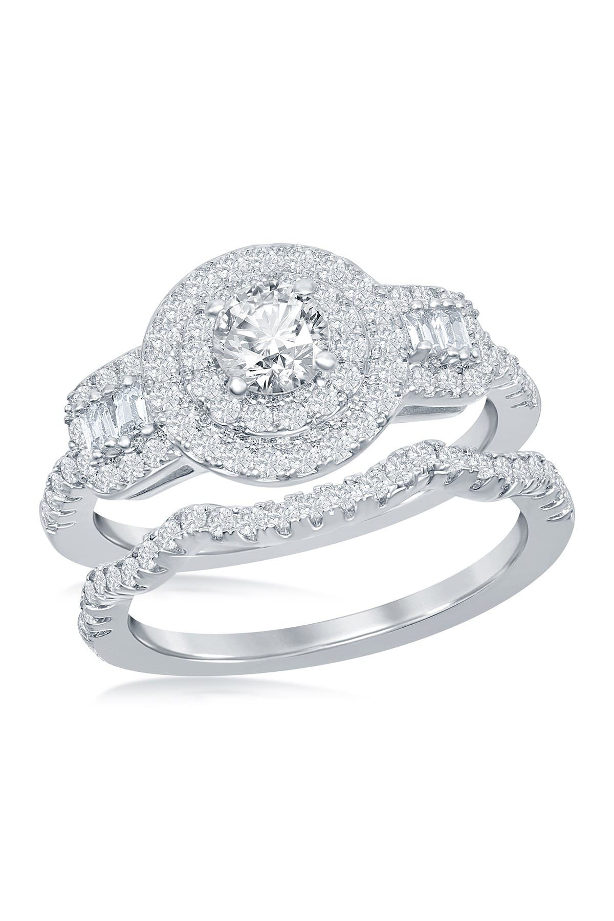 Image of Simona Jewelry Sterling Silver CZ Engagement Ring & Wedding Band Set