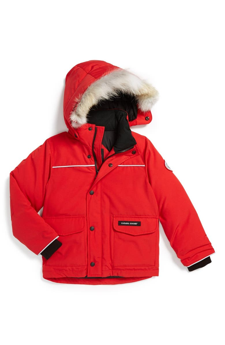 CANADA GOOSE 'Lynx' Down Parka with Genuine Coyote Fur Trim, Main, color, RED