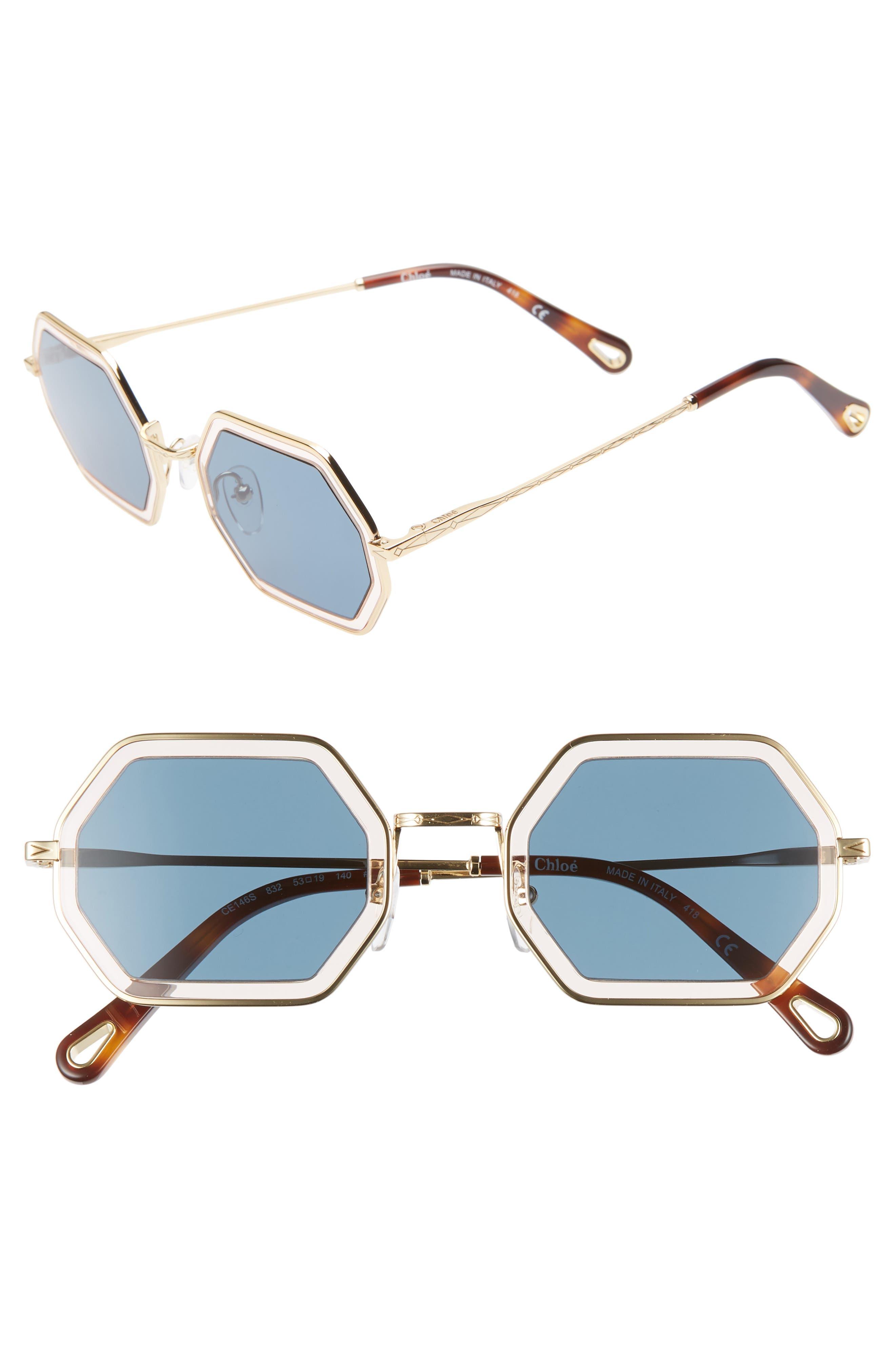 Chloe Tally 5m Octagon Sunglasses - Gold/ Light Pink/ Blue
