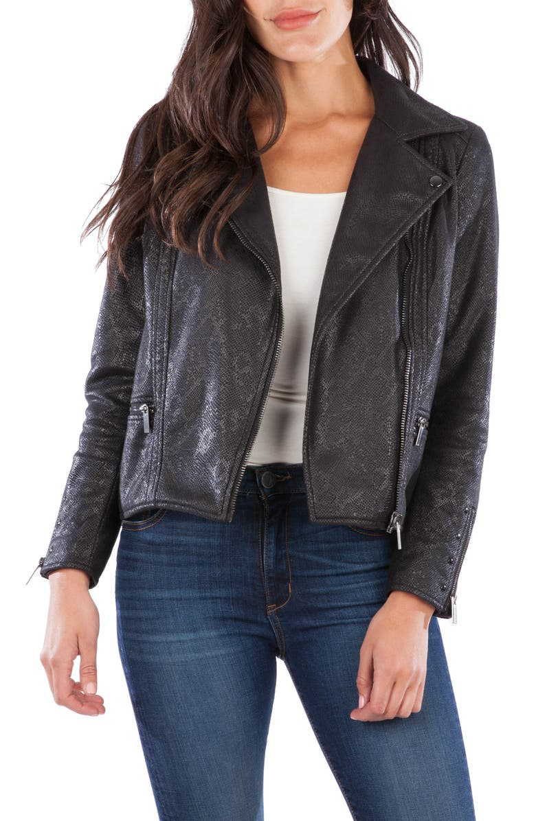 KUT FROM THE KLOTH Eveline Faux Snakeskin Moto Jacket, Main, color, 002