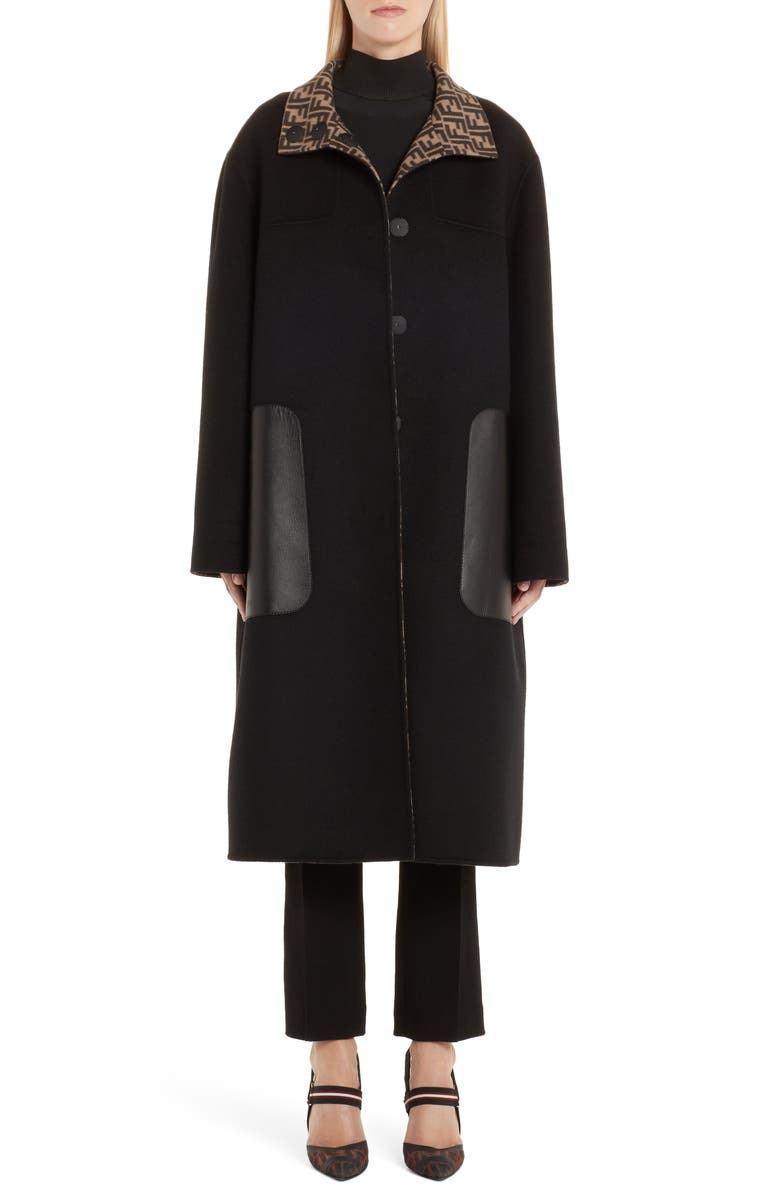 FENDI Leather Pocket Reversible FF Wool & Silk Coat, Main, color, TOBACCO