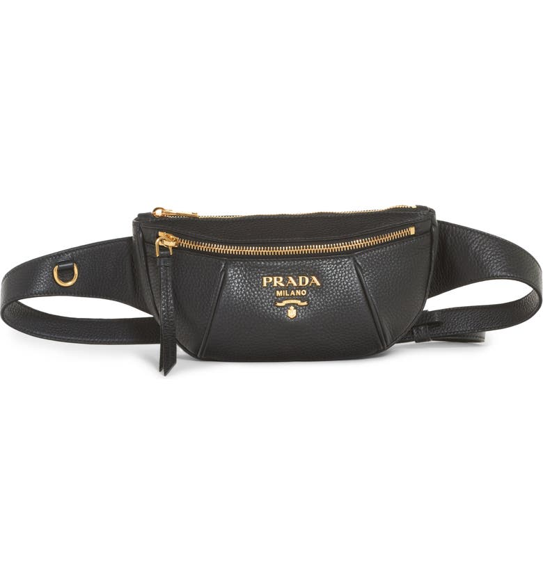 PRADA Daino Leather Belt Bag, Main, color, 001