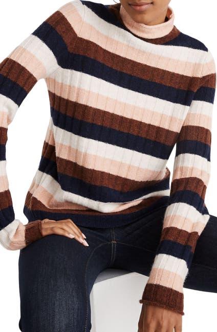 Image of Madewell Evercrest Stripe Mock Neck Sweater