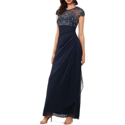 Xscape Beaded Yoke Ruched Gown, Blue