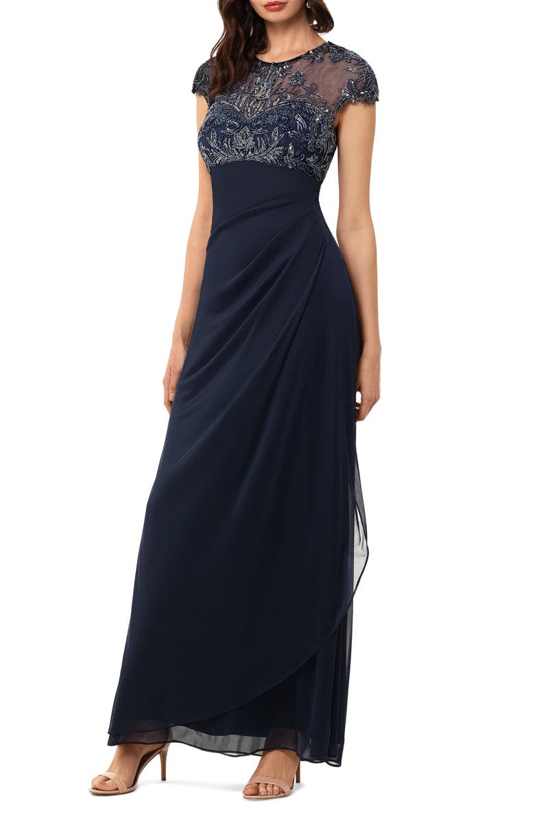 XSCAPE Beaded Yoke Ruched Gown, Main, color, NAVY