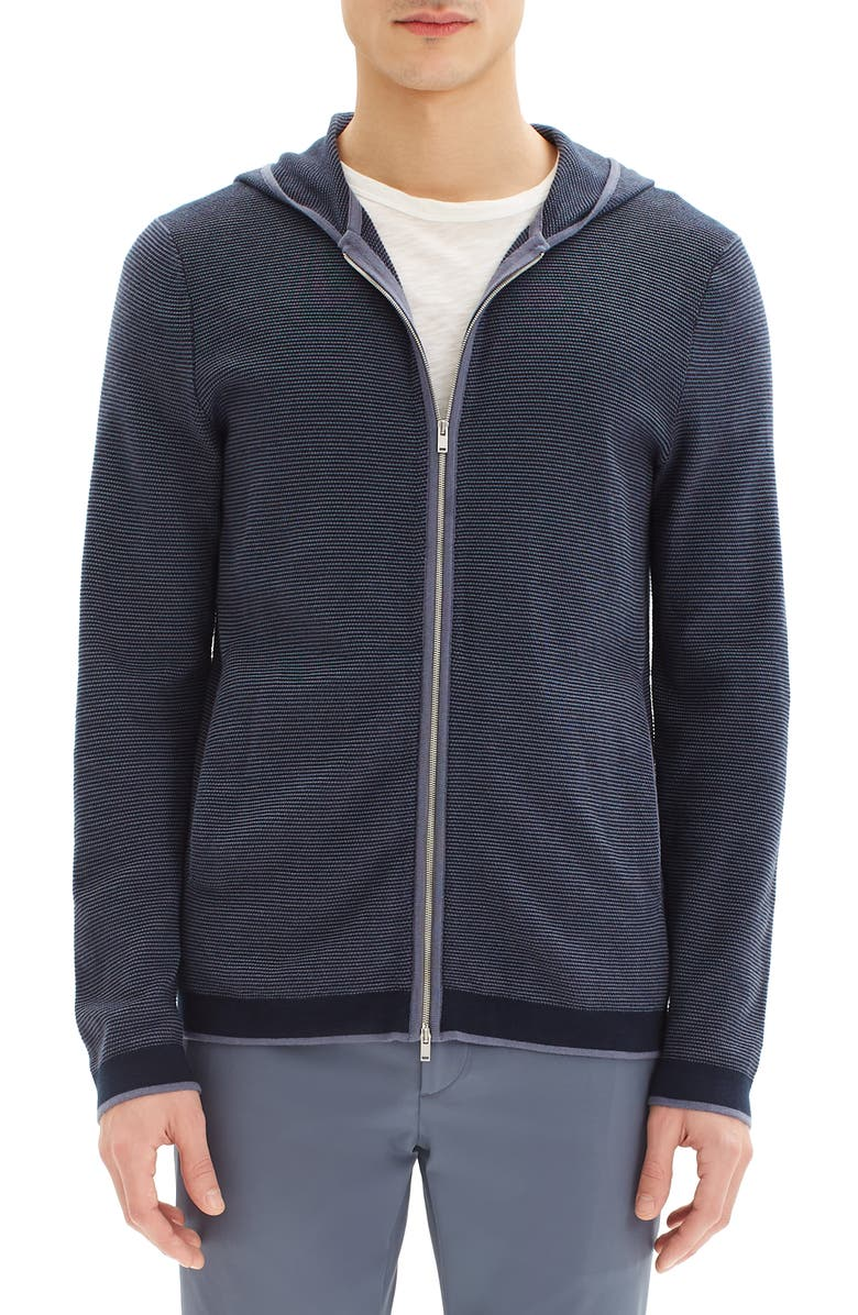 THEORY Braghe Regular Fit Zip Hooded Cardigan, Main, color, REEF MULTI