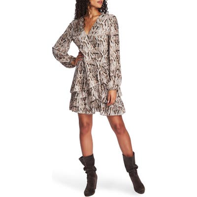 1.state Sultry Snake Ruffled Long Sleeve Wrap Front Dress, White