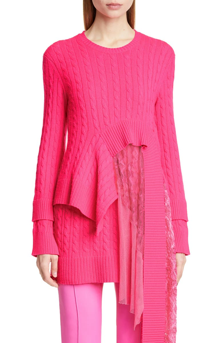 SIES MARJAN Layered Lace Hem Wool & Cashmere Sweater, Main, color, FUCHSIA