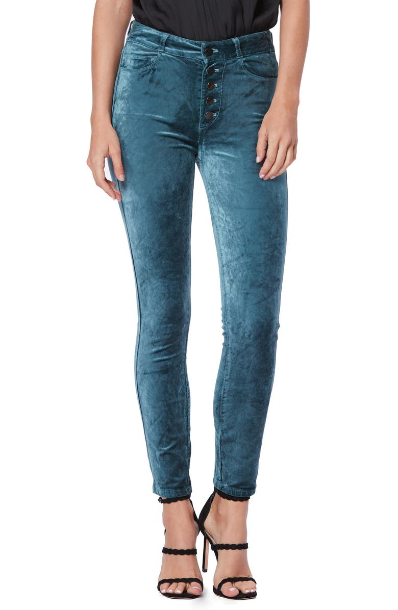 PAIGE Hoxton Velvet High Waist Skinny Pants, Main, color, ATLANTIC