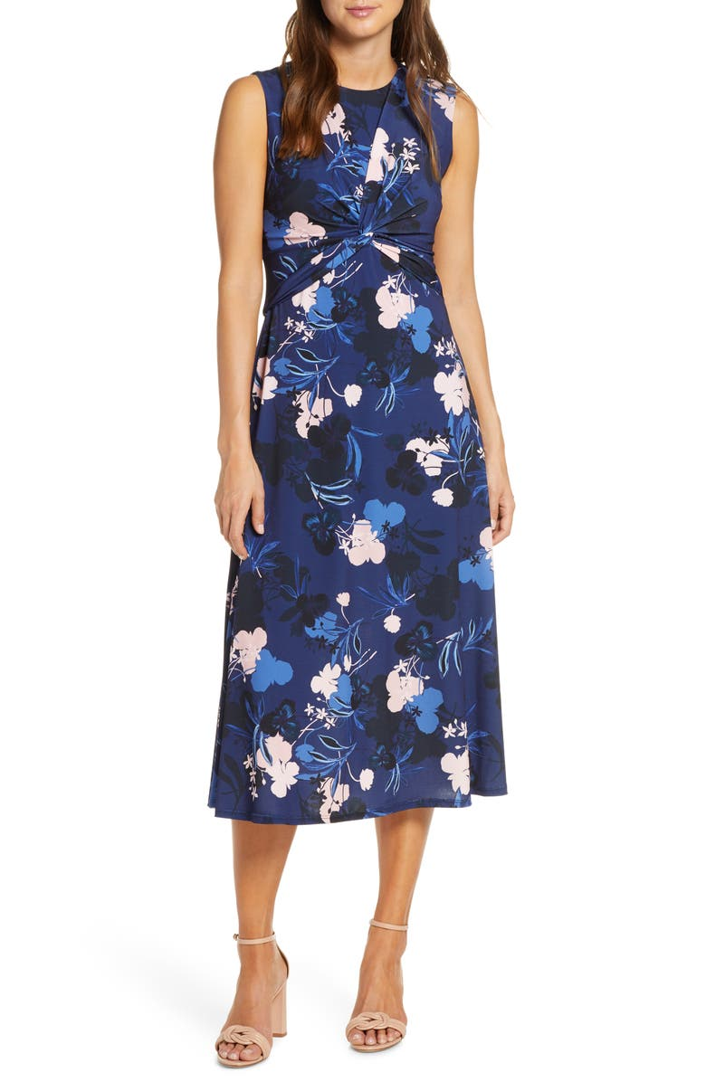 VINCE CAMUTO Floral Twist Front Sleeveless Midi Dress, Main, color, NAVY/ MULTI