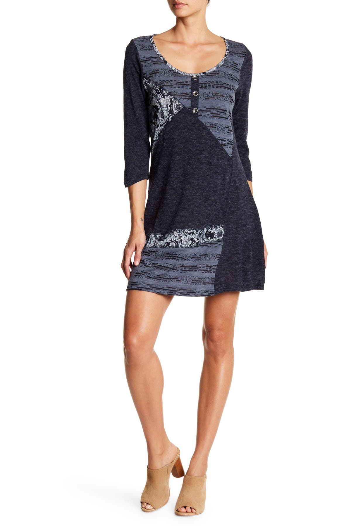Image of Papillon Multi Patch Fit-And-Flare Sweater Dress