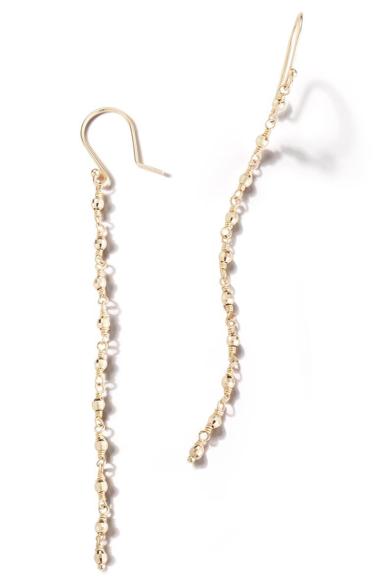 MIZUKI Sea of Beauty Geometric Bead Linear Drop Earrings, Main, color, YELLOW GOLD/ WHITE PEARL