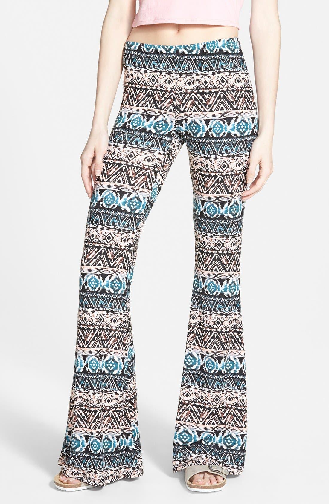 ,                             Mixed Print Flare Leg Pants,                             Main thumbnail 7, color,                             004