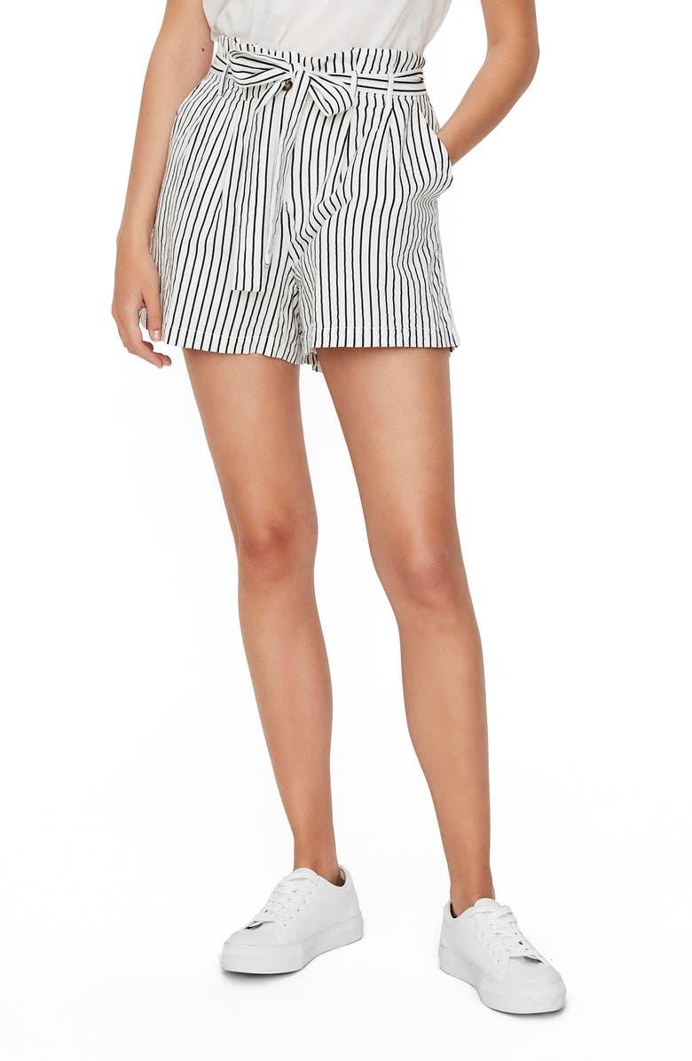 VERO MODA Paperbag Waist Shorts, Main, color, SNOW WHITE W/ NIGHT SKY