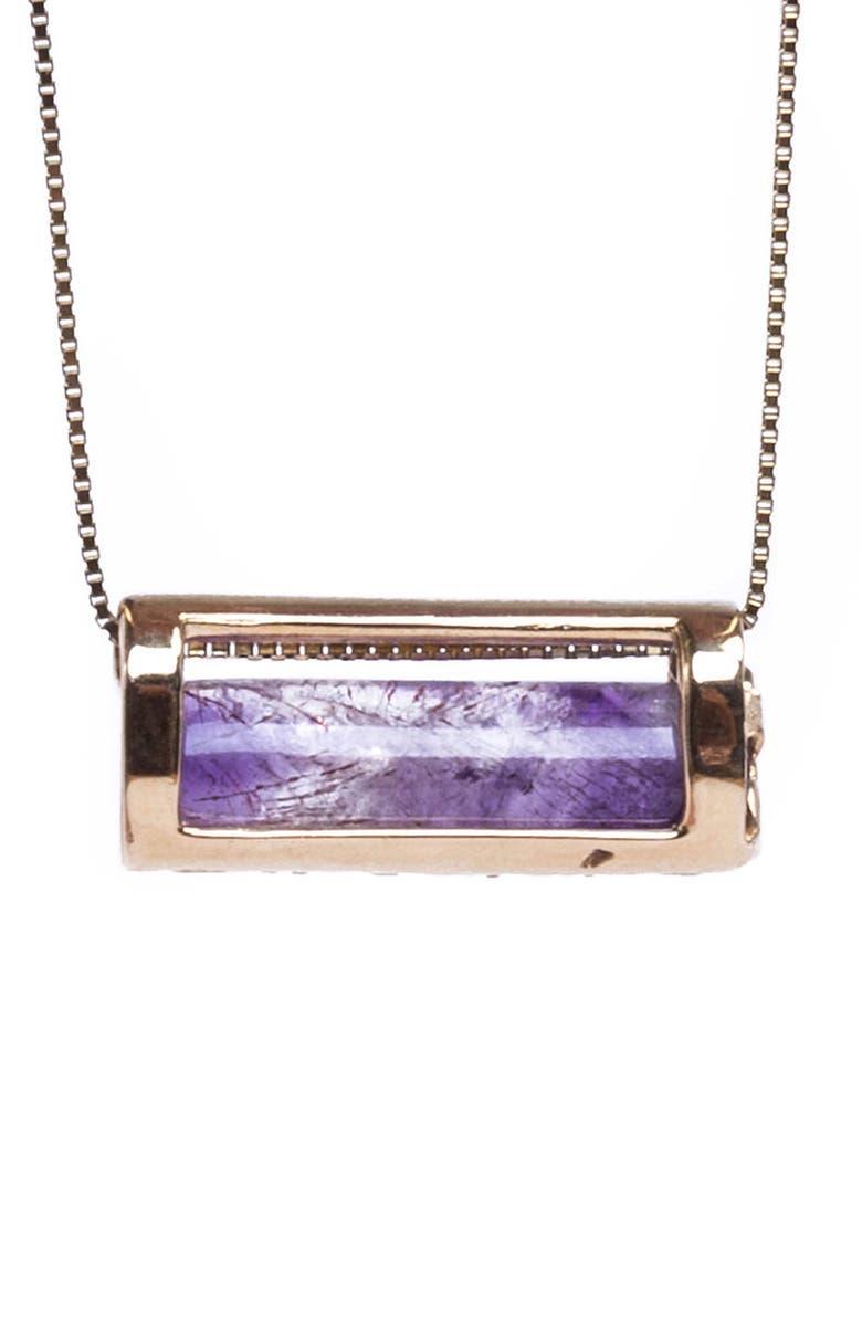 CONGÉS Peace of Mind Amethyst Barrel Pendant Necklace, Main, color, YELLOW GOLD