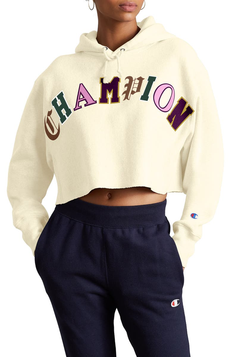 CHAMPION Reverse Weave<sup>®</sup> Crop Hoodie, Main, color, CHALK WHITE