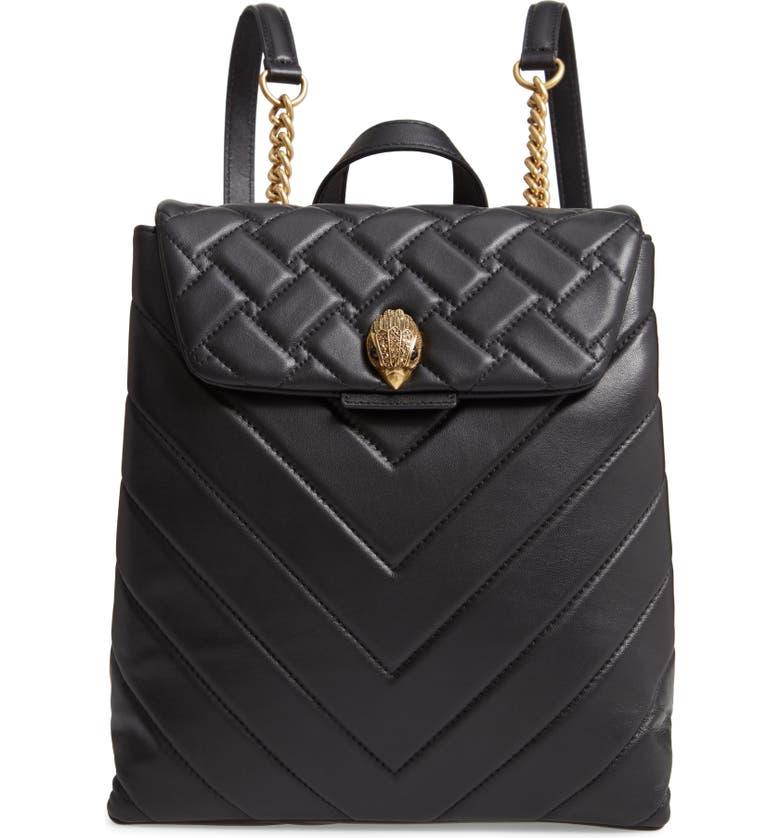 KURT GEIGER LONDON Kensington Quilted Leather Backpack, Main, color, BLACK