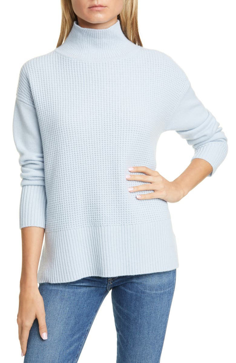 NORDSTROM SIGNATURE Cashmere Tunic Sweater, Main, color, BLUE SKYWAY