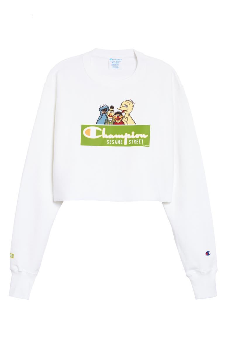 CHAMPION x Sesame Street We Are Sesame Crop Sweatshirt, Main, color, WHITE