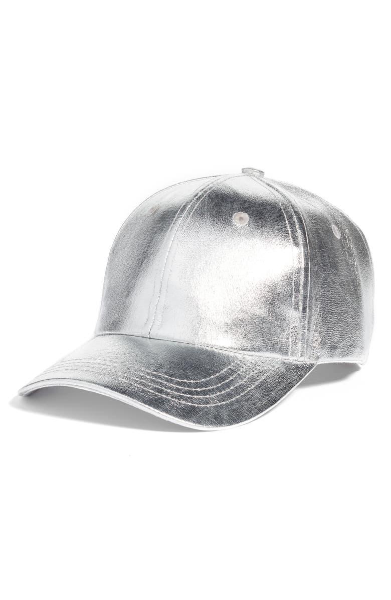 COLLECTION XIIX Crackled Metallic Baseball Cap, Main, color, 040