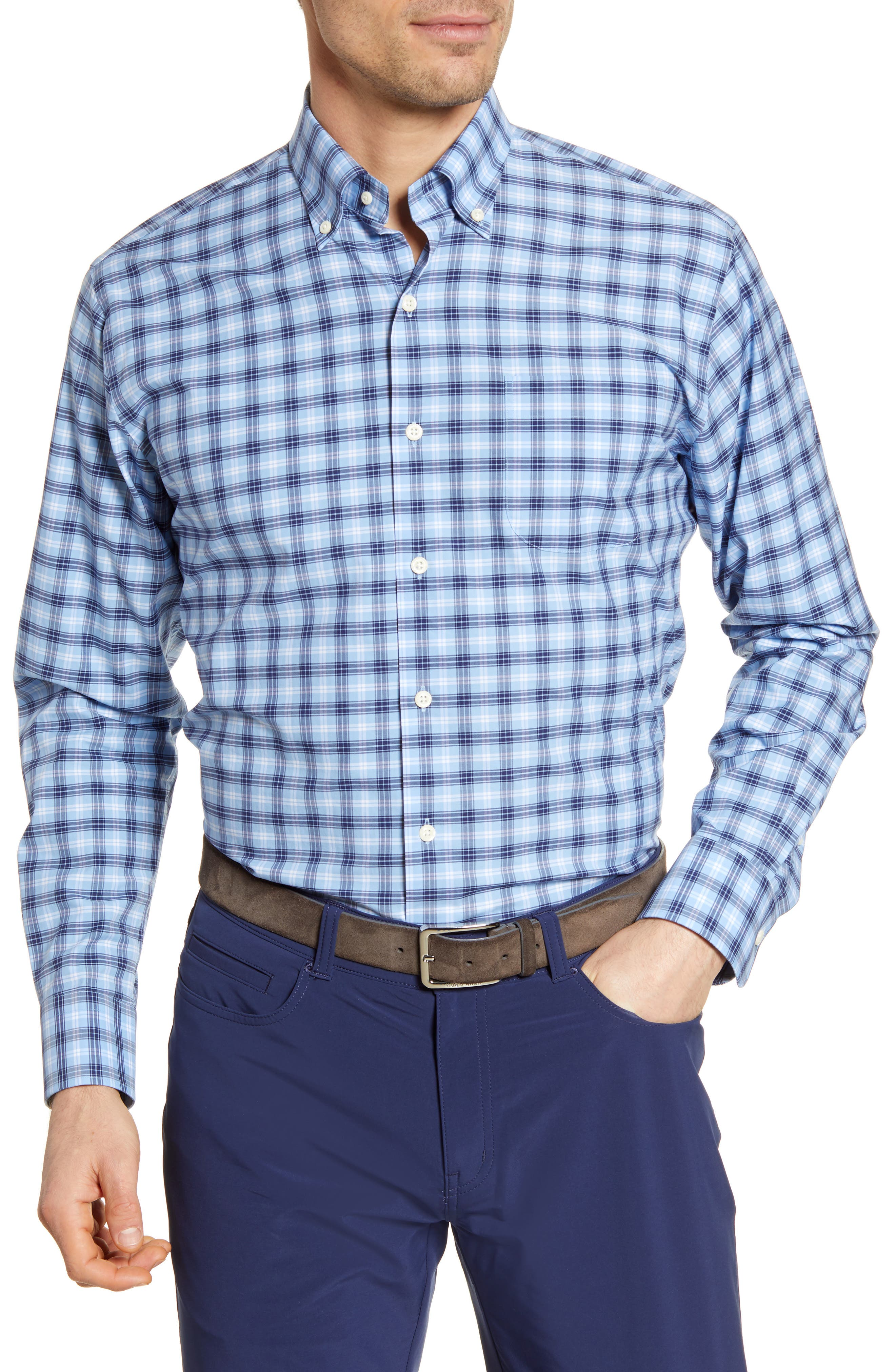 Image of Peter Millar Howard Regular Fit Plaid Button-Down Shirt
