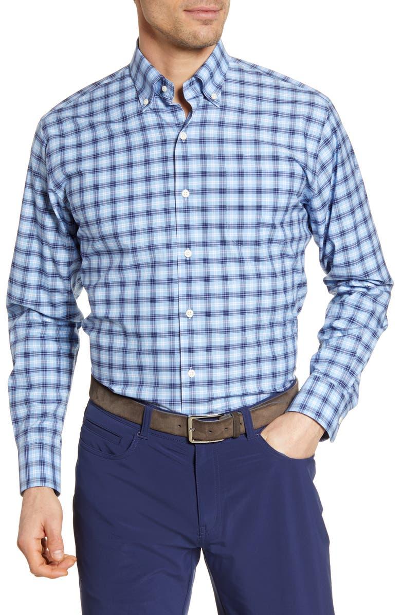 PETER MILLAR Howard Regular Fit Plaid Button-Down Shirt, Main, color, COTTAGE BLUE