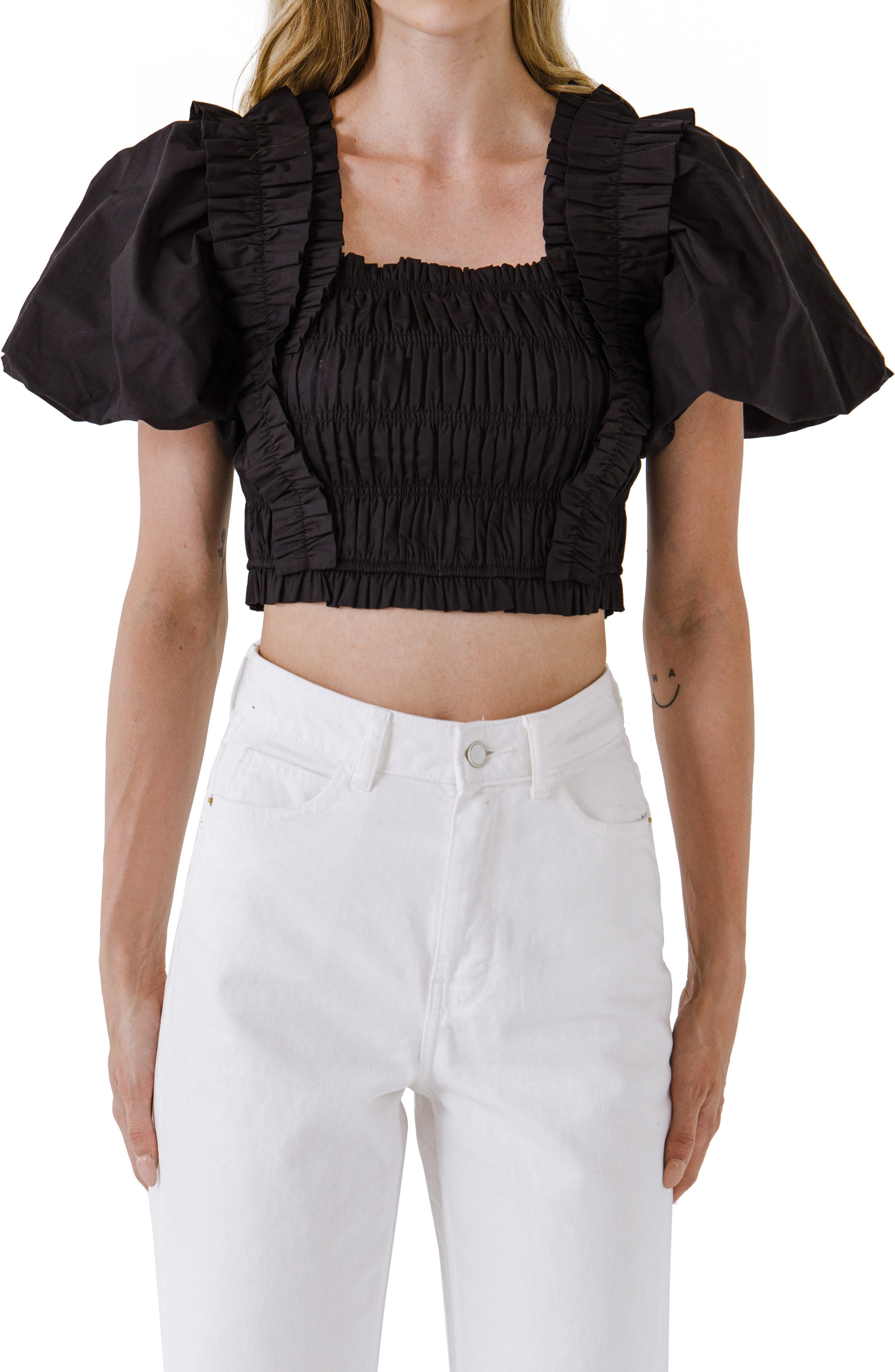 Shirred Bodice Puff Sleeve Cotton Crop Top