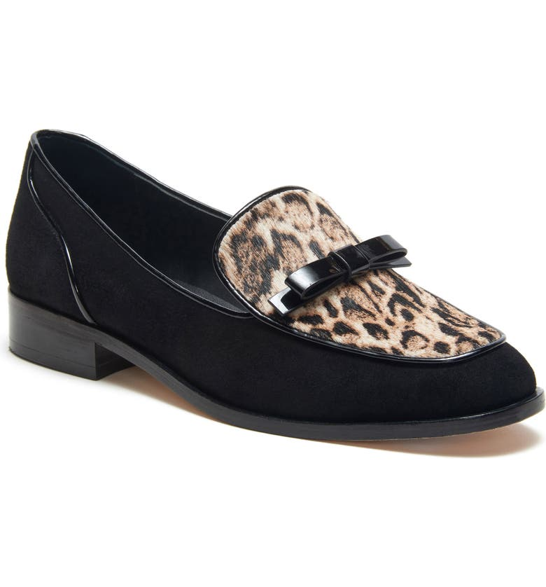 ETIENNE AIGNER Emlyn Bow Loafer, Main, color, BLACK/ ANIMAL PRINT CALF HAIR